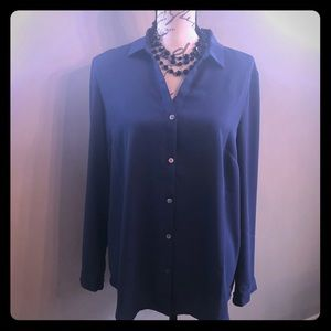 J Jill blue button down blouse.